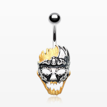 Evil Knight Mardi Gras Golden Mask Belly Button Ring