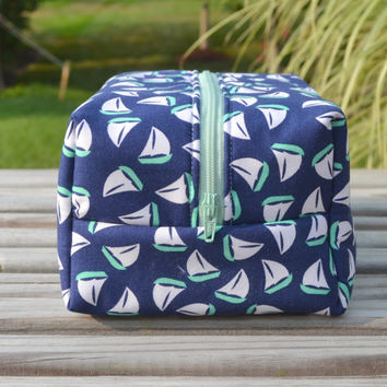 Navy and Mint Sailboat Makeup Bag- Monogram Available