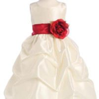 Ivory Shantung Blossom Flower Girl Dress with Gathered Pick up Skirt (Girls 12 months - Size 12)