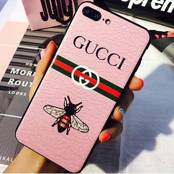 """Hot Sale """"GUCCI"""" PINK Popular One Bee Letter Print iPhone Phone Cover Case For iphone X iphone 6 6s 6plus 6s-plus 7 7plus 8 8plus I"""