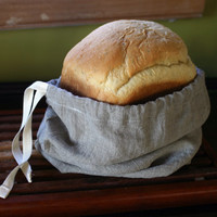 Bread Machine Loaf Bag- Linen Drawstring Bag- 100% Flax Linen