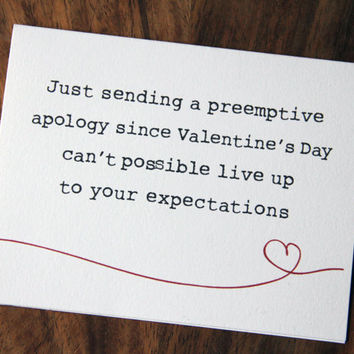 Preemptive Apology Valentine's Day Card