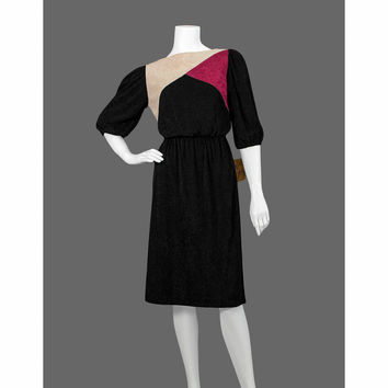 Vintage 1970s Dress / Color Block 70s Dress / Knit Black Dress / Puff Sleeve Party Dress / NOS