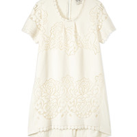 Sea Studded Short Sleeve Lace Combo Dress - ShopBAZAAR