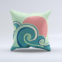 Vector Retro Green Waves  Ink-Fuzed Decorative Throw Pillow