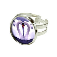 Swans Love - Kiss Silver Plated Adjustable Novelty Ring