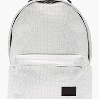 WHITE ETCHED CROC PATTERN BACKPACK