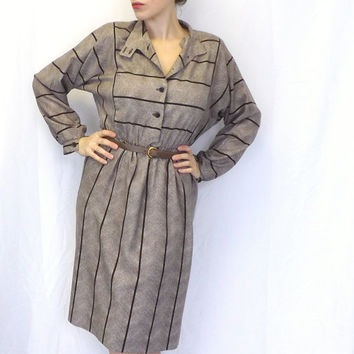 Vintage 70s 80s does 40s R & K Brown Tan Striped Shirt Shift Day Dress Long Sleeves Medium Country Folk Boho Hipster Button Up Nehru Collar
