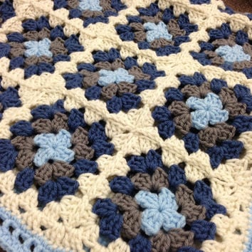 Crochet Baby Blanket - Ivory, Lite Blue, Grey, and dark Blue Baby Granny Square Afghan