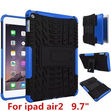 "ShockProof Hybrid Heavy Duty Stand Tablet Case Hard Back Cover For Apple iPad air2 ipad6 9.7"" Rugged Rubber Armor PC+TPU 2 In 1"