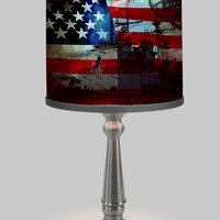 Military American Flag Art Lamp