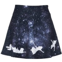 Romwe Women's Black Galaxy Style Angel Patterns Polyester Skirt
