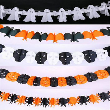 Christmas Halloween Gift 3m mix model Spider Ghost Pumpkin Skull Bat Garland Banner Color Bar for party decoration 10pcs/lot