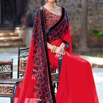 Red Georgette Saree with Blouse - SAREE - Women