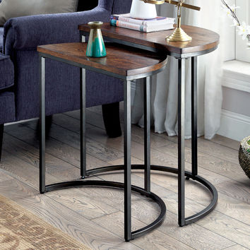 Furniture of America Bornell Industrial Style Half-Moon Nesting Table | Overstock.com Shopping - The Best Deals on Coffee, Sofa & End Tables
