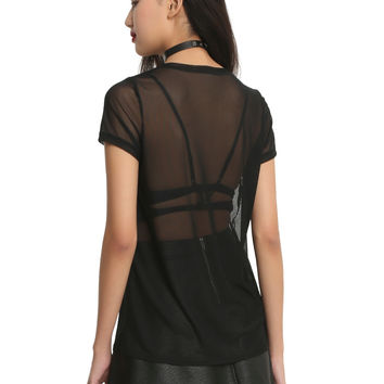 Midnight Hour Sheer Black Mesh Girls T-Shirt