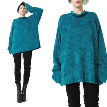 1990s Fuzzy Green Sweater Soft Chenille Sweater Teal Green Jumper 1990s Oversized Sweater Slouchy Winter Grunge Mock Neck Sweater (L/XL)