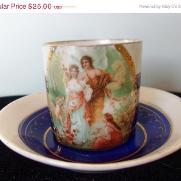 ON SALE Antique German Porcelain Tea Cup Saucer Demi with Beehive mark Gods and Cupid Scene