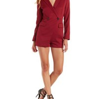 Wine E.SSUE Long Sleeve Blazer Romper by Charlotte Russe