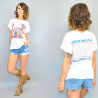 vintage 1980's rare BRUCE SPRINGSTEEN TOUR distressed t-shirt, extra small-large