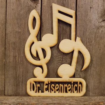Music Teacher Personalized Name Plaque- laser cut wood sign
