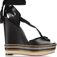 Christian Louboutin - Tribuli 140 chain-trimmed leather wedge sandals