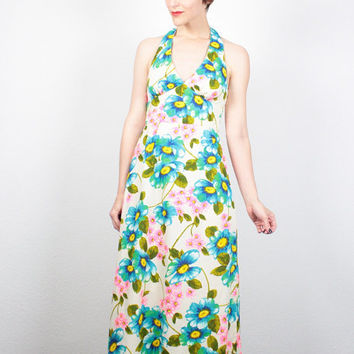 Vintage 60s Dress Maxi Dress Daisy Floral Print Halter Dress 1960s Dress Backless Dress Hippie Dress Boho Hippie Wedding Dress S Small