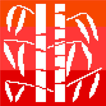 Bamboo stems in negative silhouette. Modern cross stitch pattern. Contemporary cross stitch chart. Oriental design.