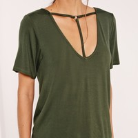 Missguided - T Bar Harness Front T Shirt Khaki