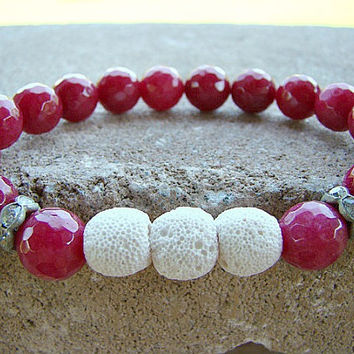 Diffuser Jewelry, Essential Oil, Gemstone Bracelet, White, Lava Rock, Pink, Bead Bracelet, Scent Diffuser, Holistic, Aromatherapy, Stackable