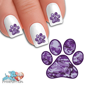 Purple Camo Paw Print - Nail Art Decals (Now! 50% more FREE)