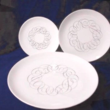 # Rosenthal/Continenl Germany, China Dinnerware #Script, #3686 3 pc plate(s) set