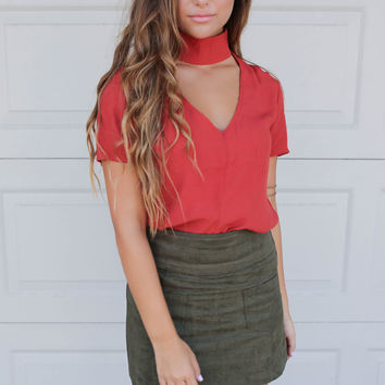 Charleston Glamour Olive Faux Suede Mini Skirt