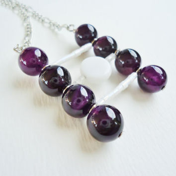 Large Amethyst & White Ladder Pendant