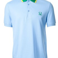 Fred Perry By Raf Simons green and yellow contrast collar polo shirt