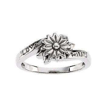 925 Sterling Silver Love Waits Flower Chastity Ring: Size: 6