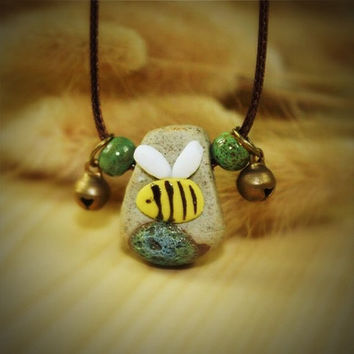 Ceramic Bee necklace,Boho clay necklace,unique jewelry,rope,adjustable necklace,porcelain pendant,hand painted,ceramic bead necklace,hippie