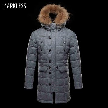 Men Thick Long Parka Down Clothing Men Casual Wool Hooded Down Coats Male Winter Outerwear