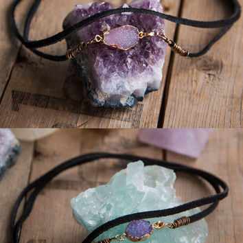 Druzy Wrap Choker - Black Vegan Suede Necklace Gemstone Jewelry  Crystal Necklace Boho Chic Modern Gypsy Gypset Style Druzie Gifts for Teens