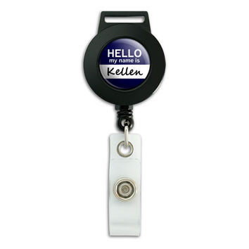 Kellen Hello My Name Is Retractable Badge Card ID Holder