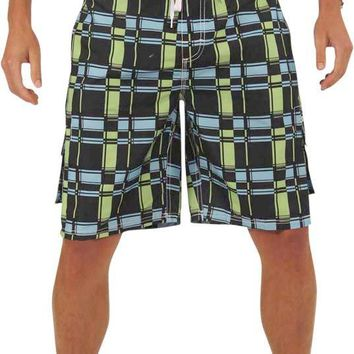 NORTY Mens Swim Trunks - Watershort Swimsuit - Cargo Pockets - Drawstring Waist - Order One Size Larger