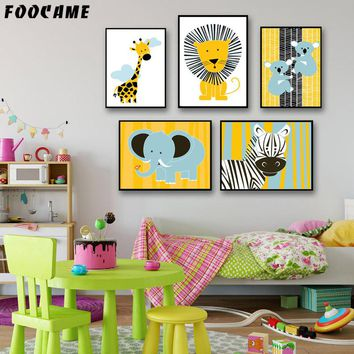 Cute Animals Giraffe Lion Elephant Zebra Koala Kids Art Canvas Painting Home Decor Children's Room