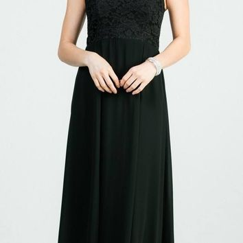 Black A-Line Long Formal Dress Embellished Neckline