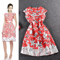 Pink Cap Sleeves Floral Printed Swing Mini Dress
