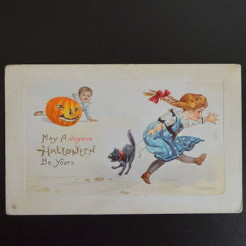 Halloween Postcard by Stetcher Little Girl JOL