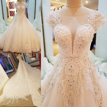LS89964 elegant lace wedding dress cap sleeves ball gown crystal wedding gowns with long tail robe de mariage 2017 real photos