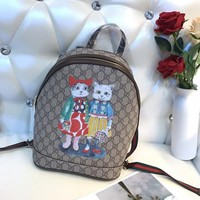 GUCCI GG Supreme Kitten Friends Backpack