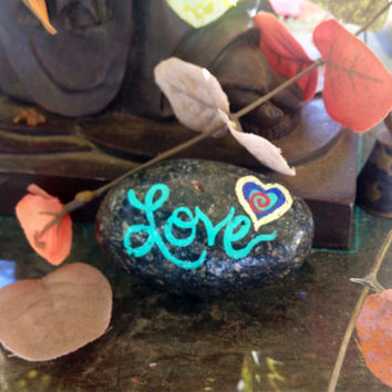 Love and Heart, hand painted sea rock, gift, painted rock, or paper weight