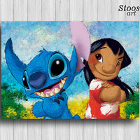 Lilo and Stitch poster disney painting nursery decor watercolor