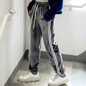 Fashion Women Velvet Track Pants Classic Two Stripe Sweatpants Side Stripe Runner Pants Cuffed Track Pants
